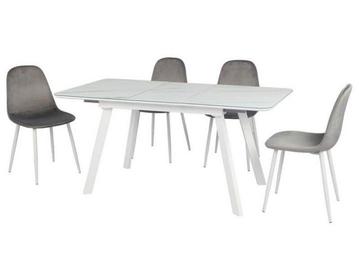 Раскладной стол TM-171 белый кварц 120 (+40)*80*76 см