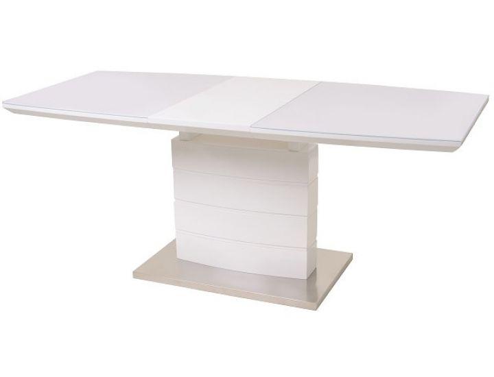 Раскладной стол стеклянный TM-50 белый 140(+40)*80*76см