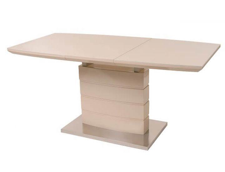 Раскладной стол стеклянный TM-50-1 бежевый 120(+40)*80*76см