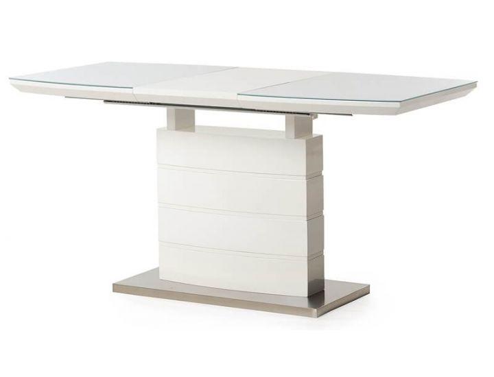 Стол стеклянный обеденный TM-50-2 белый 110 (+40)*70*76 см