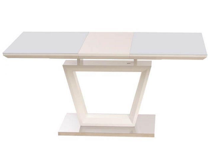 Раскладной стол стеклянный TM-51-1 белый 120(+40)*80*76см