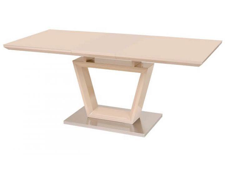 Раскладной стол стеклянный TM-51 бежевый 140(+40)*80*76см