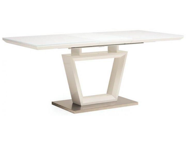 Раскладной стол стеклянный TM-51 белый 140(+40)*80*76 см