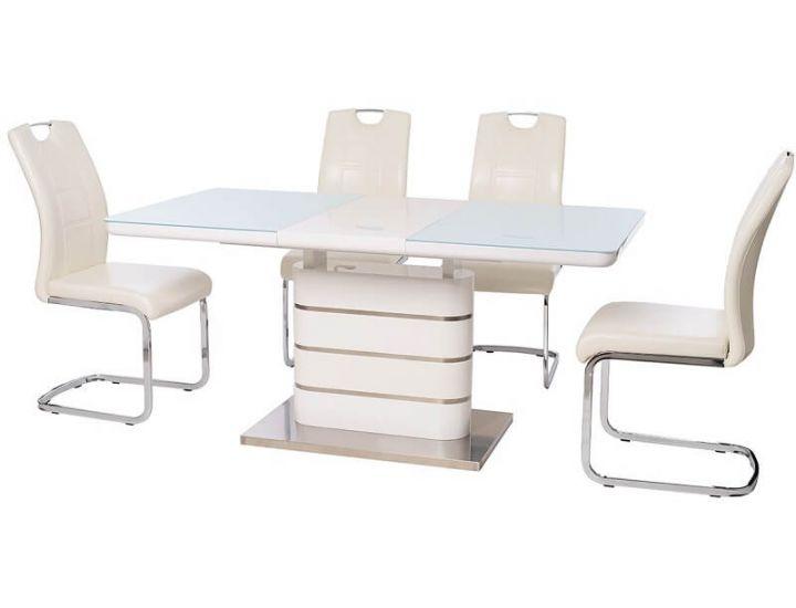Раскладной стол стеклянный TM-52-1 белый 120(+40)*80*76см