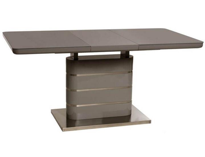 Раскладной стол стеклянный TM-52-1 серый 120(+40)*80*76см