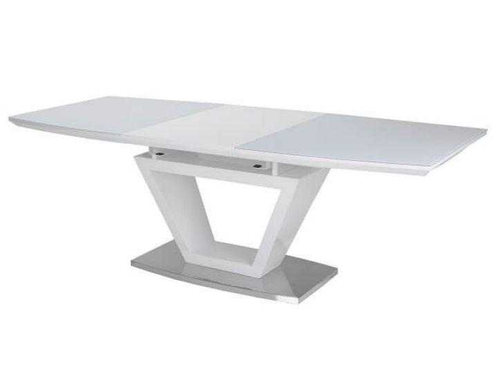 Раскладной стол стеклянный TM-53 белый 160(+60)*90*76 см