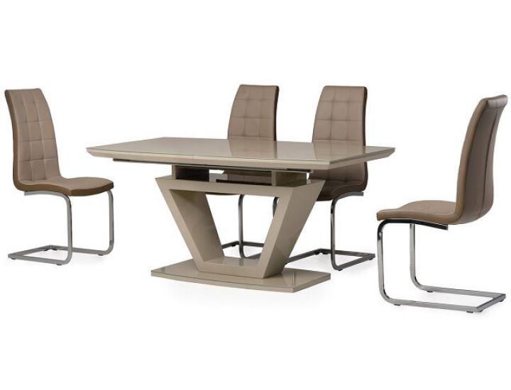 Стол стеклянный обеденный TM-53 капучино-латте 160 (+60)*90*76 см