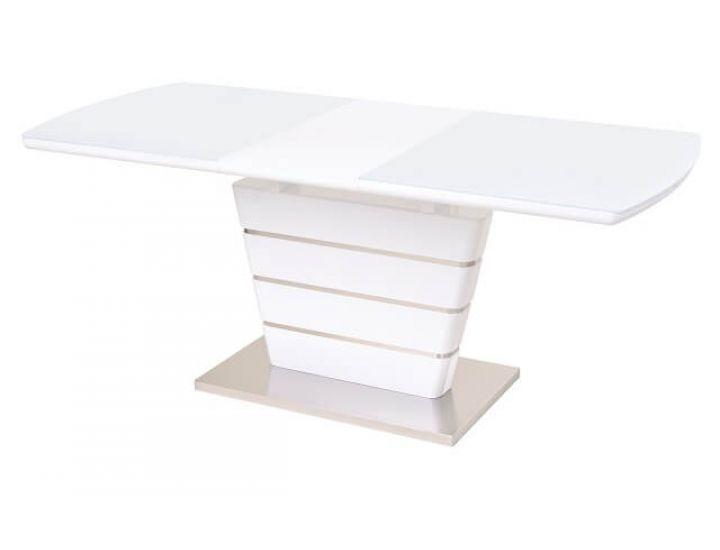 Раскладной стол стеклянный TM-55 белый 140(+40)*80*76 см