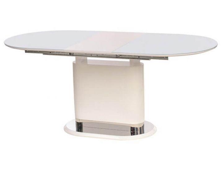 Раскладной стол стеклянный TM-56 белый 140(+40)*80*76 см