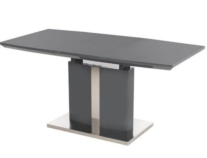 Раскладной стол стеклянный TM-57-1 серый 120(+40)*80*76 см