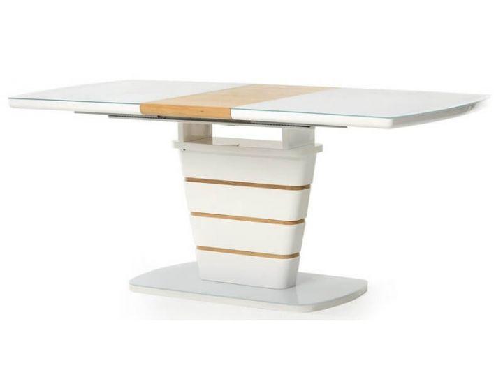 Раскладной стол стеклянный TM-59-1 белый, дуб 120 (+40) * 80 * 76 см