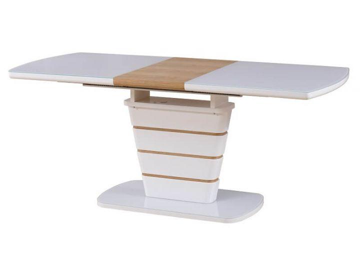 Раскладной стол стеклянный TM-59 белый-дуб натуральный 140 (+40)*80*76 см
