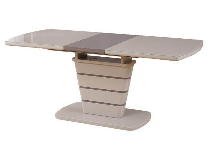 Раскладной стол стеклянный TM-59 капучино-латте 140 (+40)*80*76 см