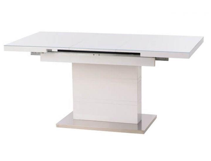 Раскладной стол стеклянный TM-60 белый 120(+40)*80*76 см