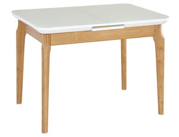 Стол стеклянный обеденный TM-72 белый матовый 105 (+25) * 75 * 75 см