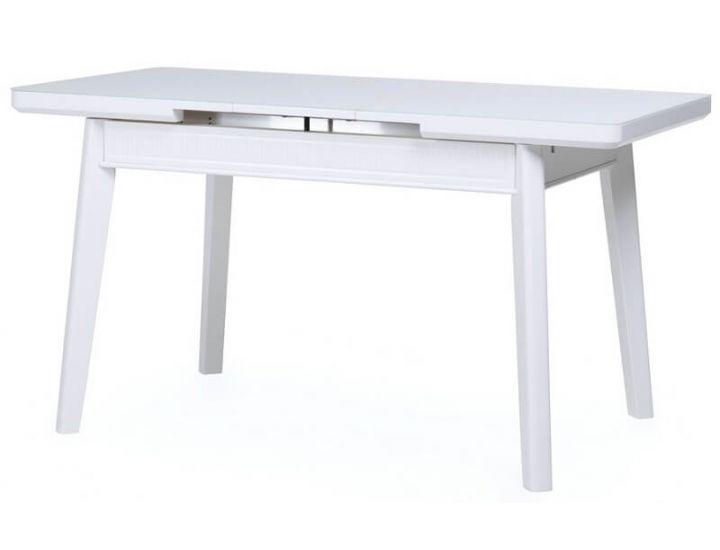 Стол стеклянный обеденный TM-73 белый матовый 110 (+30)*70*75 см