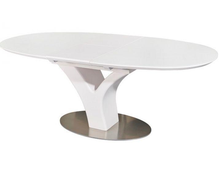 Раскладной стол стеклянный TML-512 белый сатин 160(+40)*95*76 см