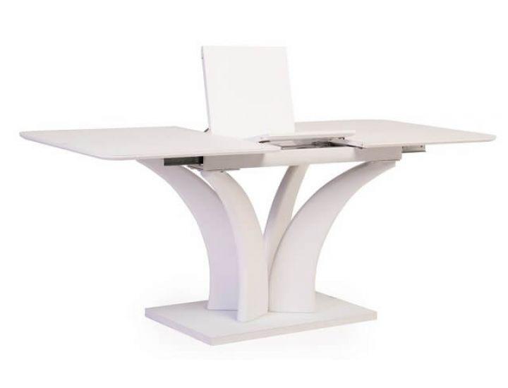 Раскладной стол стеклянный матовый TML-515 белый 140(+40)*80*76 см