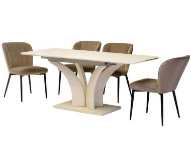 Раскладной стол матовый TML-515 молочный 140(+40)*80*76 см