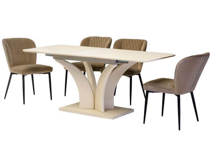 Раскладной стол стеклянный матовый TML-515 молочный 140(+40)*80*76 см