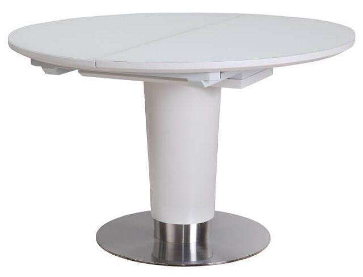 Раскладной стол стеклянный TML-518 белый сатин 120(+40)*120*76 см