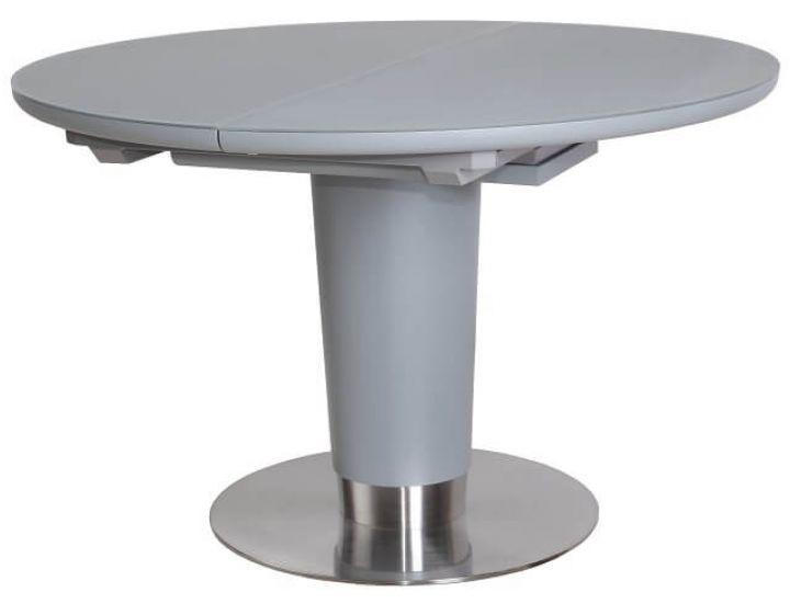 Раскладной стол стеклянный TML-518 серый сатин 120(+40)*120*76 см
