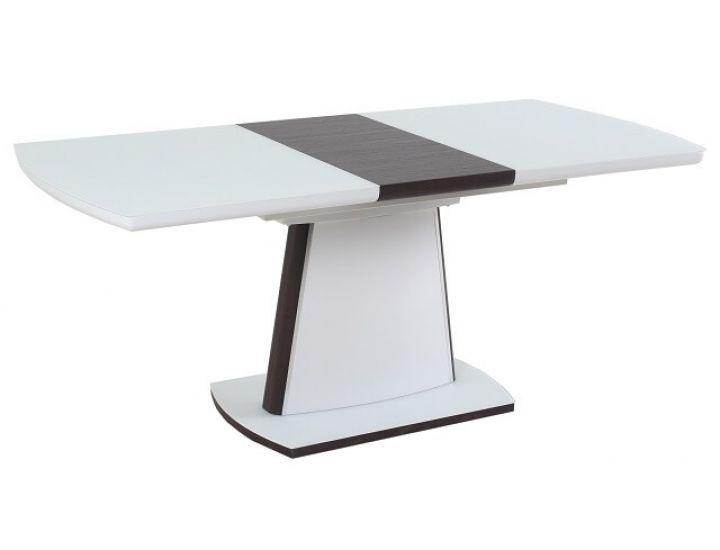 Раскладной стол стеклянный TML-520 белый сатин + венге 140(+40)*80*76 см