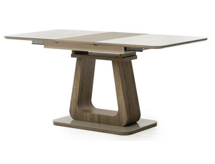 Стол стеклянный обеденный TML-521-1 капучино-дуб 120 (+40)*80*76 см