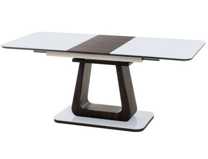 Раскладной стол стеклянный TML-521 белый + венге 140(+40)*80*76 см