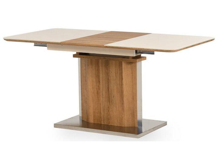 Раскладной стол стеклянный TML-525 бежевый, дуб натуральный 120 (+40)*80*76 см