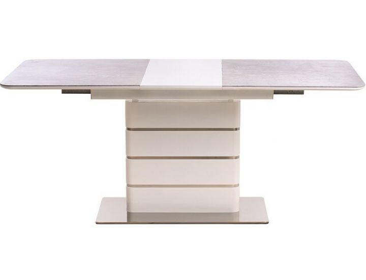 Раскладной стол стеклянный TML-530 grigio/crema + белый 140(+40)*80*76 см