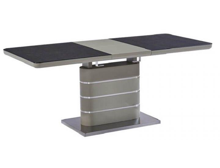 Стол стеклянный обеденный TML-530 черный кварц-мокко 140 (+40)*80*76 см
