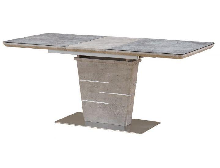 Раскладной стол стеклянный TML-540 серый бетон 140 (+40)*80*75 см