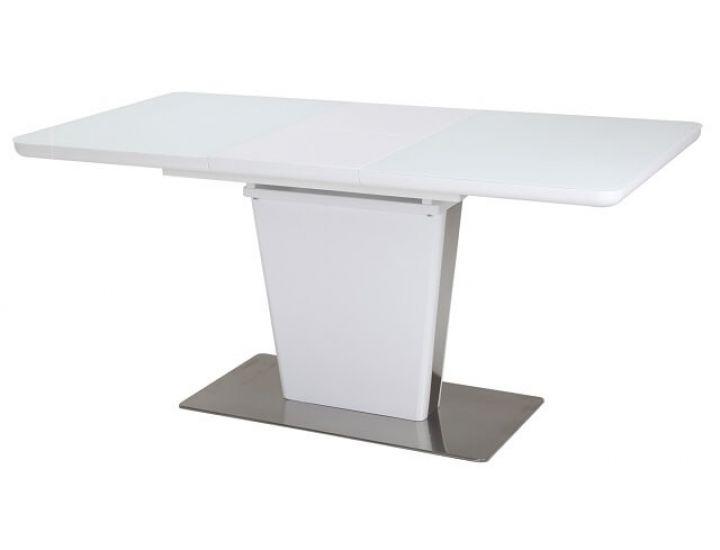 Раскладной стол стеклянный TML-555-1 белый сатин 120(+40)*80*76 см