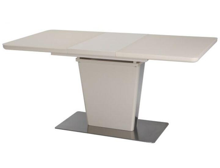 Раскладной стол стеклянный TML-555-1 бежевый сатин 120(+40)*80*76 см