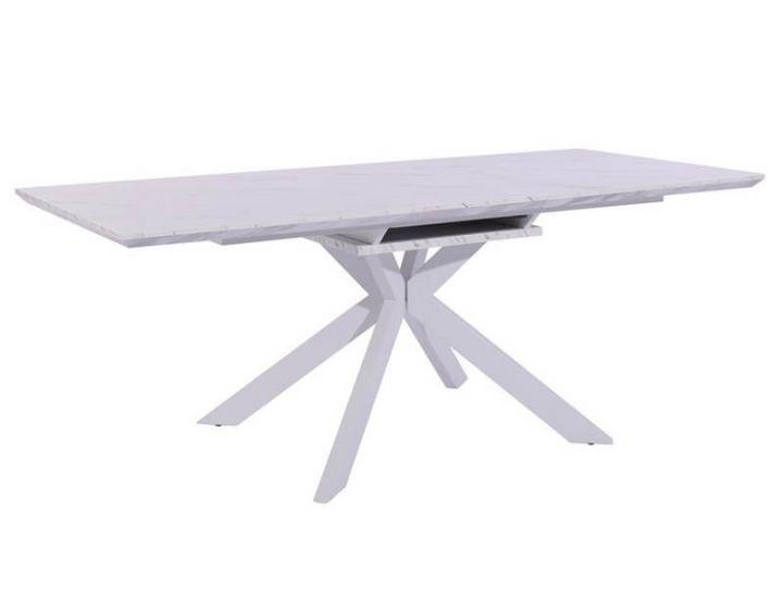 Раскладной стол TML-630 белый мрамор 160 (+40)*90*76 см