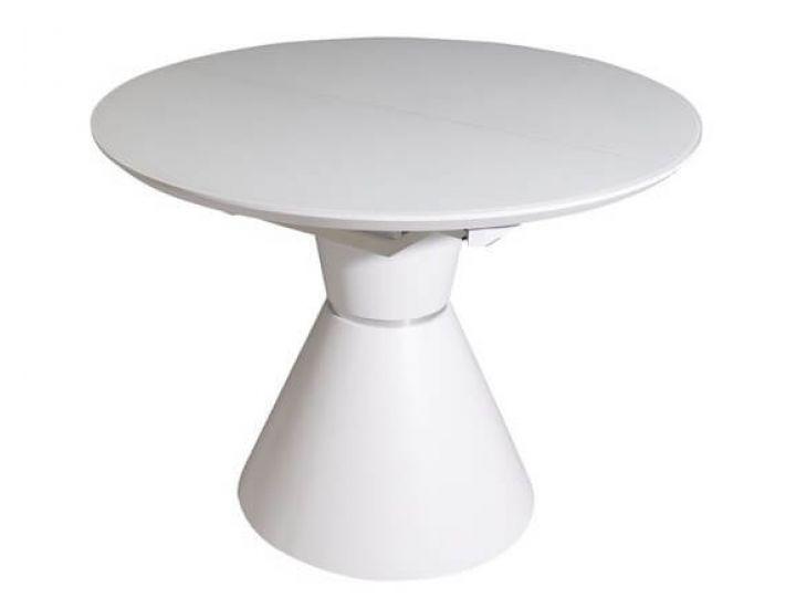 Раскладной круглый стол TML-651 белый матовый 105 (+40) * 105 * 76 см