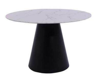 Стол круглый стеклянный TML-655 белый мрамор 120 см