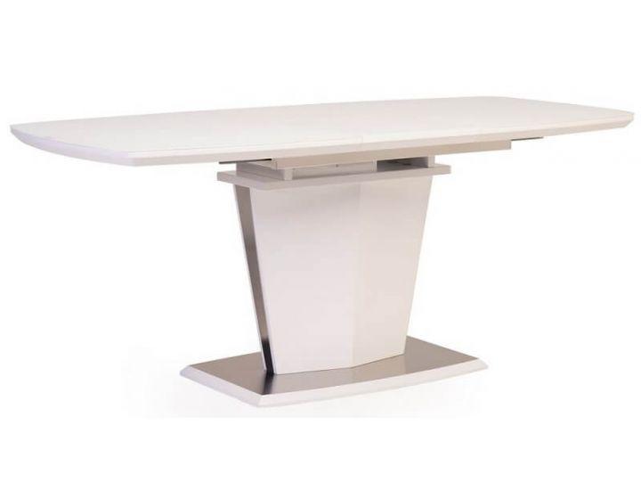 Раскладной стол стеклянный матовый TML-700 белый 140(+40)*80*76 см