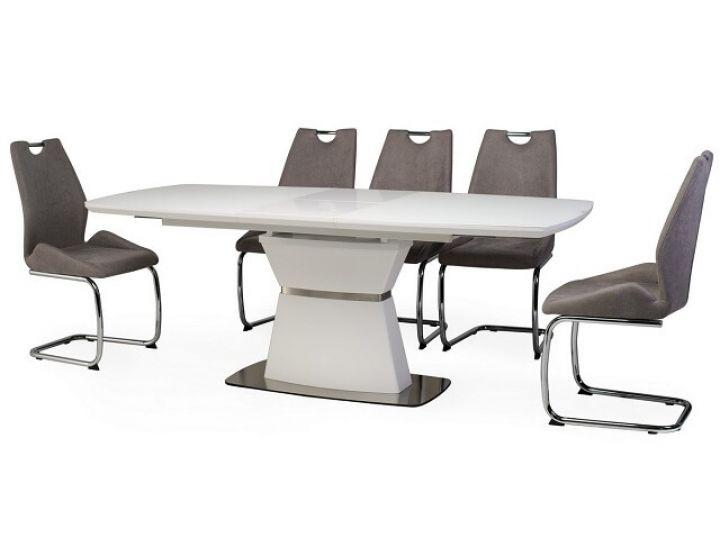 Раскладной стол стеклянный TML-750 белый матовый 160 (+40)*90*76 см