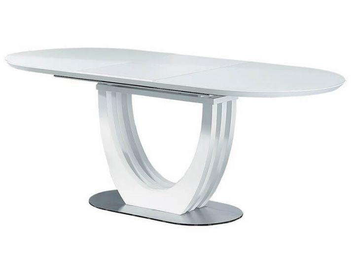 Раскладной стол стеклянный матовый TML-760 белый 150 (+50)*90*76 см