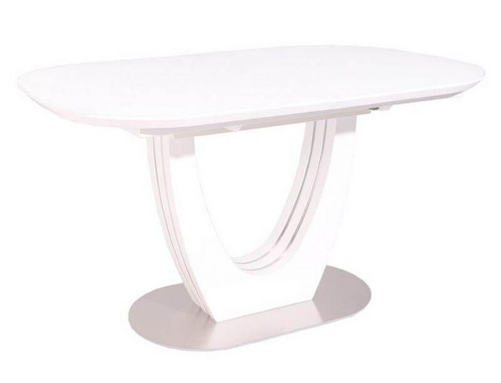 Раскладной стол стеклянный матовый TML-765-1 белый 120 (+40) * 80 * 76 см