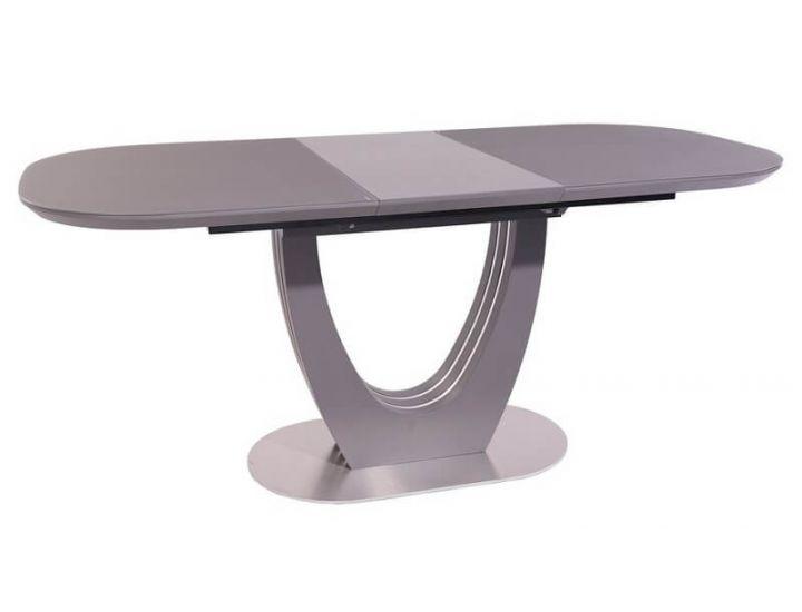 Раскладной стол стеклянный матовый TML-765-1 серый 120 (+40) * 80 * 76 см