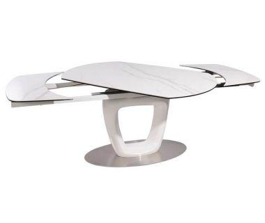 Большой раскладной стол TML-825 белый мрамор, керамика 140 (+40) * 80 * 76 см