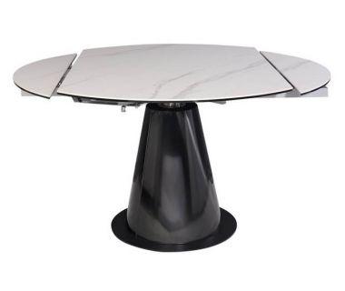 Раскладной круглый стол TML-830 белый мрамор, керамика 90 (+45) * 135 * 76 см