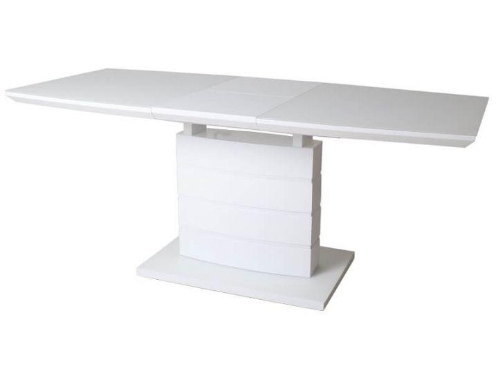 Раскладной стол стеклянный матовый TMM-50-1 белый 120(+40)*80*76 см