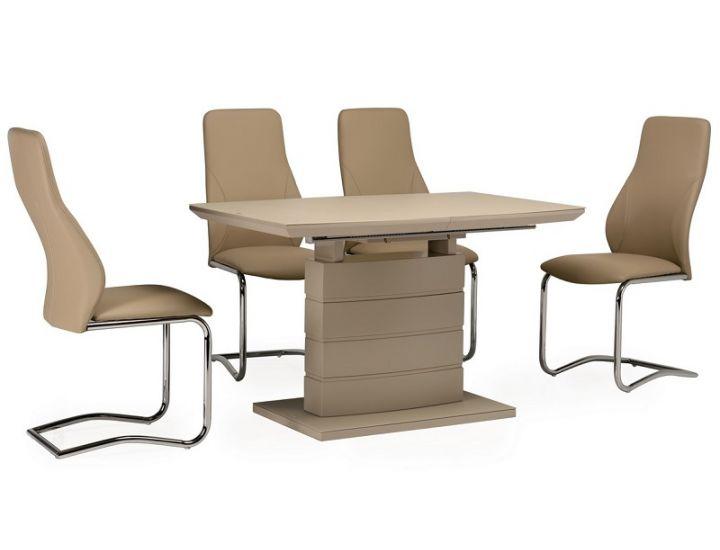Раскладной стол стеклянный матовый TMM-50-1 капучино 120(+40)*80*76 см