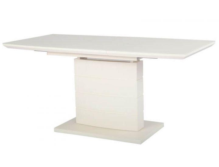 Раскладной стол стеклянный матовый TMM-50-1 молочный 120(+40)*80*76 см