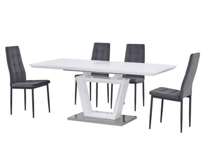 Раскладной стол стеклянный матовый TMM-51-1 белый 120 (+40)*80*76 см