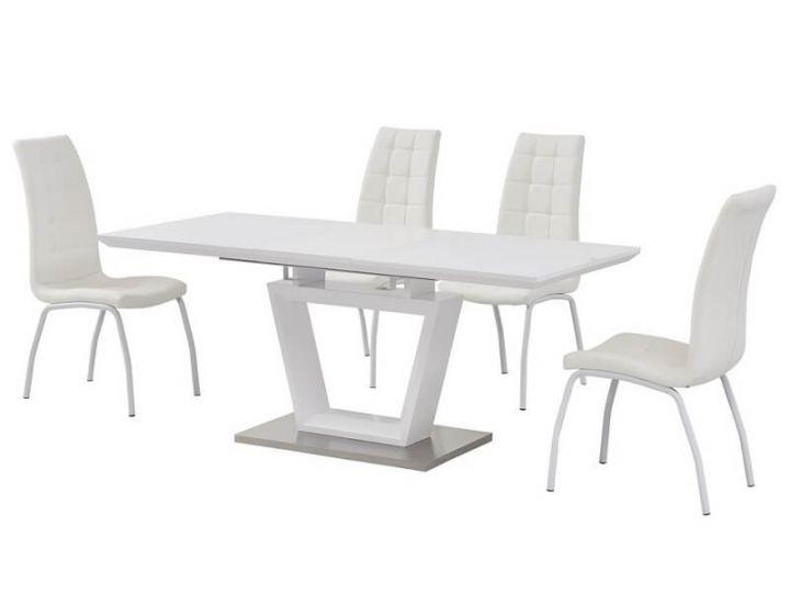 Раскладной стол стеклянный матовый TMM-51 белый 140 (+40)*80*76 см